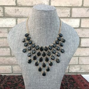 Classy Black and Gold Necklace/ Earring Set